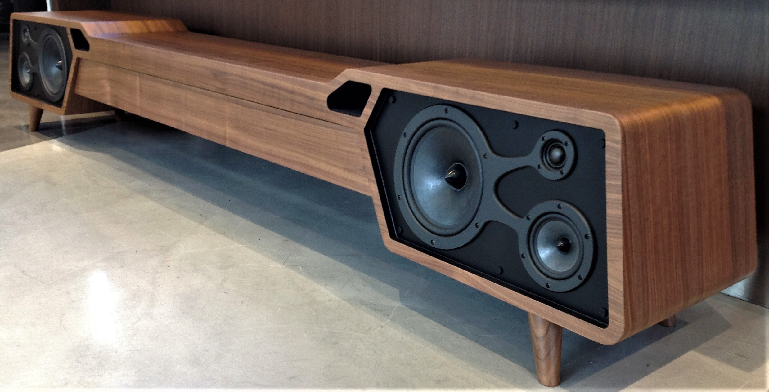 Custom TV Stands with integrated speakers